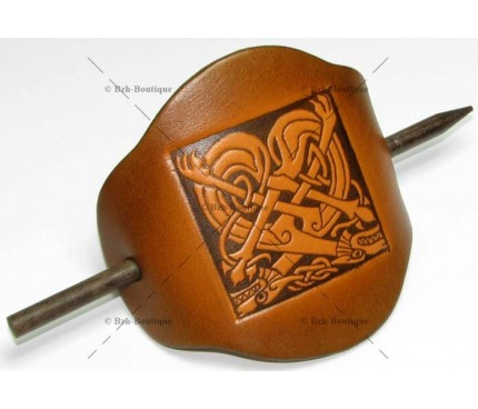 Catogan en cuir - Chiens celtes dos à dos