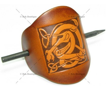 Leather hair slide - Celtic dog